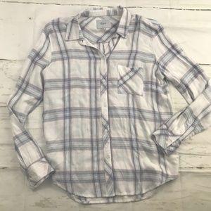 NWOT Rails Plaid flannel Button Down Shirt White